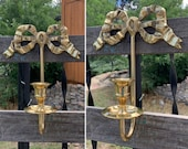 Vintage Single Solid Heavy Brass Bow Candle Wall Sconce for Taper Candles measuring 9 quot x 7 quot x 3.25 quot Art Nouveau Decor Shabby Chic Decor
