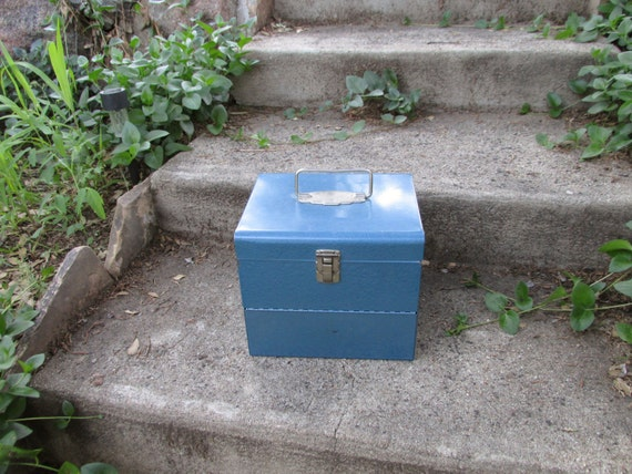 Vintage Peacock Blue Steel Metal Cassette Tape Storage Box