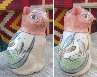 "Adorable Vintage Rustic TONALA Mexican Folk Art Clay Pottery CAT FIGURINE with Bird Design measures 5 1/8"" x 3.5"" x 3"" ~ Hacienda Home Decor"