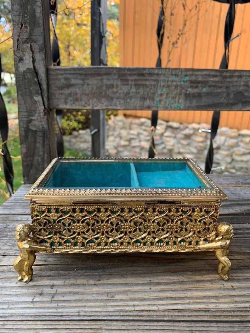 Gorgeous Vintage CHERUB FOOTED Gold Filigree Box wBeveled Glass /& Jewel Blue Velvet Lining at 6.5 x 4.25 x 2.75 ~ Hollywood Regency ~