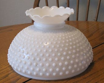 Kerosene lamp shade etsy 10 opal hobnail student shade with crimp top mozeypictures Gallery