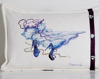 Lumbar Pillow 12 X 18 Cream Blue Purple Hand Painted Made in Canada