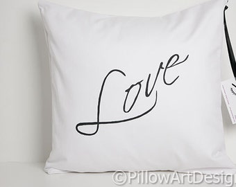 Love Pillow Decorative Throw Cursive Script Hand Painted Made in Canada