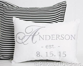 Pillow Personalized with Wedding Date and Name White Cotton 9 X 13 Made in Canada Free Shipping
