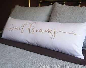 Sweet Dreams Large Lumbar Pillow Cover White Cotton Hand Made in Canada Free Shipping