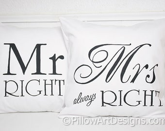 Pillow Covers for Couples Mr Right Mrs Always Right Pillow Covers Fully Lined Made in Canada