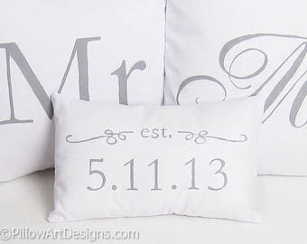 Mr and Mrs Pillow Covers Set with Mini Est Date Pillow Grey and White Hand Painted Made in Canada Free Shipping