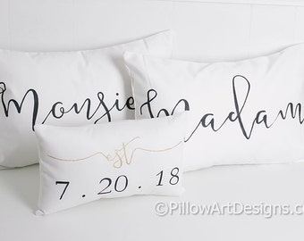 Couples Madame Monsieur Mr Mrs His Hers Personalized White Lumbar Pillow Covers with Mini Est Date Pillow Made in Canada