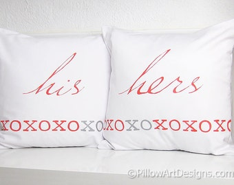 Valentine His and Hers Pillows 16 X 16 XO Kisses and Hugs Red White Silver Made in Canada