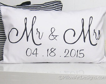 Pillow Lumbar Wedding Date Pillow Engagement Wedding Anniversary White Lumbar Pillow 12 X 18 Couples Made in Canada Free Shipping