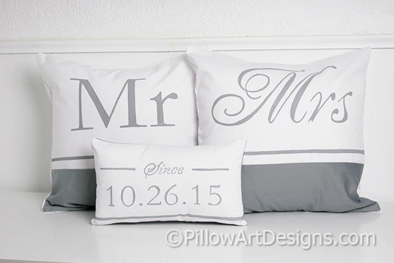 Mr Mrs Pillow Covers with Wedding Date Pillow Personalized Hand Painted Made in Canada Free Shipping