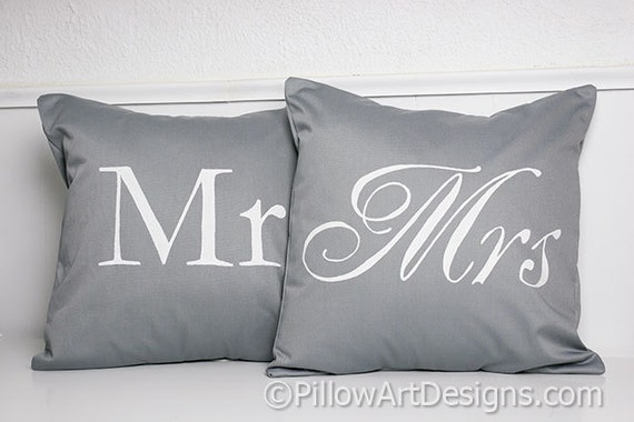Mr And Mrs Pillow Covers Grey And White His And Hers 40 X 40 Etsy Stunning Mr And Mrs Pillow Covers