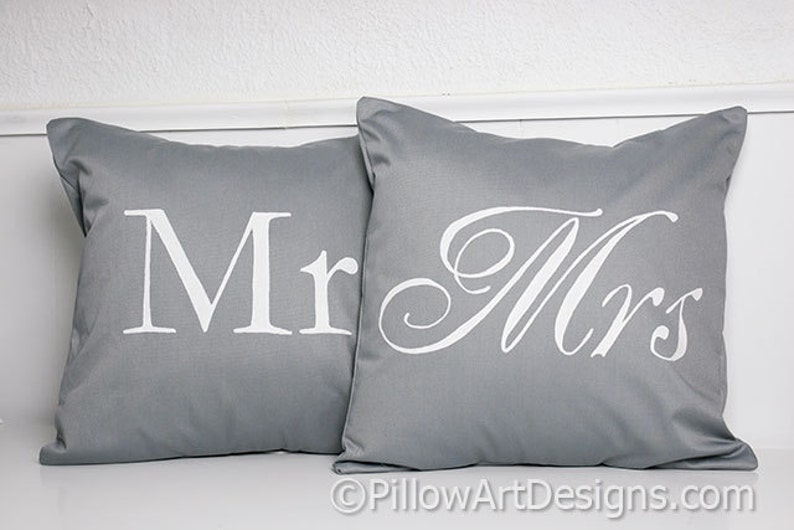Mr And Mrs Pillow Covers Grey And White His And Hers 16 X 16 Etsy