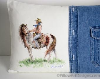 Farmhouse Pillow Lumbar 12 X 18 Horse and Cowboy Art Pillow Handmade in Canada