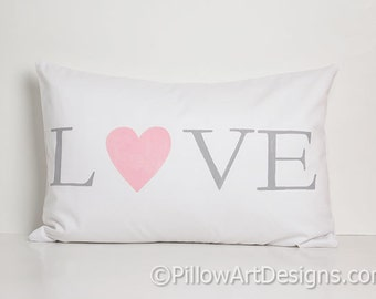 Nursery Decoration Baby Room Pillow White Cotton Lumbar with Heart Rectangular 12 X 18 Made In Canada