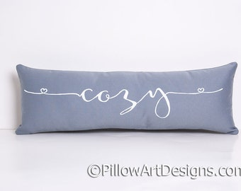 Skinny Pillow with Word Cozy 6 X 18 Made in Canada