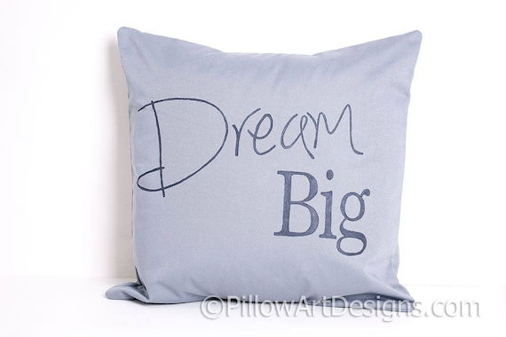 Dream Big Square Throw Pillow in White