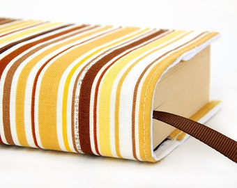 Paperback book cover, Mass Market, Reusable fabric book cover, Book Protector, Durable, Washable, Softcover - Bradley Stripe