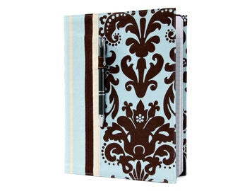 Composition notebook cover with option to personalize, fabric notebook cover, journal, teacher gift - Blue Damask