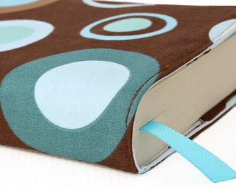 Paperback book cover, Mass Market, Reusable fabric book cover, Book Protector, Durable, Washable, Softcover - Blue Circus Dot