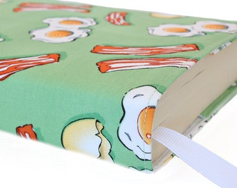 Paperback book cover, Mass Market, Reusable fabric book cover, Book Protector, Durable, Washable, Softcover - Bacon & Eggs
