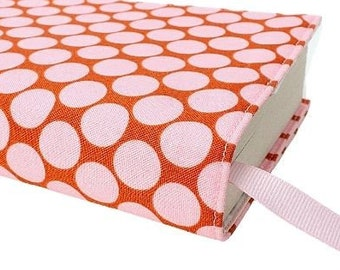 Paperback book cover, Mass Market, Reusable fabric book cover, Book Protector, Durable, Washable - Pink Dots