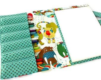 Crayon wallet, crayon case, children's art toy, crayon holder, coloring toy, crayon artist case, travel toy, crayon roll - Animals
