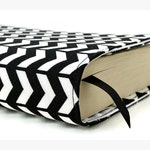 Paperback book cover, Mass Market, Reusable fabric book cover, Book Protector, Durable, Washable - Black and White Chevron