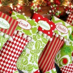 Personalized Christmas Stockings - 12 different options - Red and Green and White Christmas Stocking - Modern Christmas Stocking - Holiday