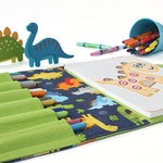 Crayon case with option to add name, crayon wallet, children's coloring toy, crayon holder, crayon artist case, travel toy - Baby Dinosaurs