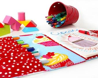 Cupcakes Crayon Artist Case, Ready To Ship, Large crayon wallet, Crayon holder, Coloring tote, Activity toy, Art portfolio case