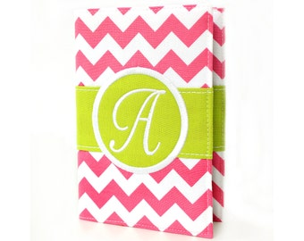 """Personalized 4"""" x 6"""" unlined journal, Custom journal, Monogrammed journal, Sketchbook, Art journal, Personalized gifts, Diary - Pink Chevron"""