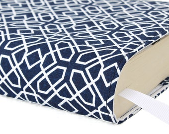 Paperback book cover, Mass Market, Reusable fabric book cover, Book Protector, Durable, Washable - Navy Geometric