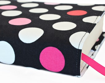 Paperback book cover, Mass Market, Reusable fabric book cover, Book Protector, Durable, Washable, Softcover - Dots on Black