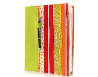 Notebook cover, composition notebook cover, fabric notebook cover, journal, reusable cover, teacher gifts - Bright Stripes
