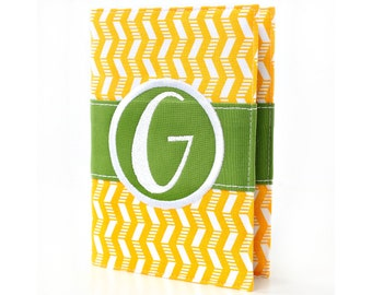 """Personalized 4"""" x 6"""" unlined journal, Custom journal, Monogrammed, Sketchbook, Art journal, Personalized gift, Diary - Yellow Zig Zag"""