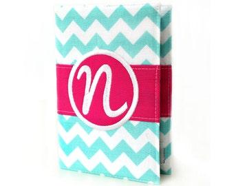 "Personalized 4"" x 6"" unlined journal, Custom journal, Monogrammed journal, Sketchbook, Art journal, Personalized gifts, Diary - Aqua Chevron"