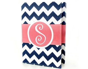 """Personalized 4"""" x 6"""" unlined journal, Custom journal, Monogrammed journal, Sketchbook, Art journal, Personalized gifts, Diary - Navy Chevron"""