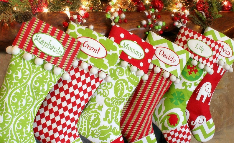 Personalized Christmas Stockings  Red and Green and White image 0