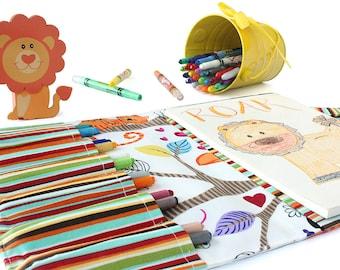 Crayon wallet, crayon case, children's art toy, crayon holder, coloring toy, crayon artist case, travel toy, crayon roll - Exotic Animals