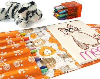 Crayon case with option to add name, crayon wallet, children's coloring toy, crayon holder, crayon artist case, travel toy - Purrfect Cats