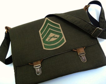 Memory Bag Recycled Clothing Into a Memory Bag Military bag Military clothing Messenger Bag Purse laptop case Custom made from your clothing