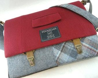 "Laptop Messenger Bag, Mens 15"" Womens laptop Messenger Bag , 15""  Macbook Pro Laptop Sleeve Suit coat Upcycled bag recycled repurposed"