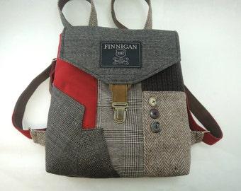 Backpack, Backpack Purse, Womens Purse, Softsided Bag, Recycled Mens Suit Coat Bag, Travel Bag, Train Bag