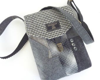 Crossbody Purse Recycled Purse, Messenger Bag iPhone pocket,Recycled mens suit coat Wool, Eco Friendly, Womens Handbag, Tote bag womens