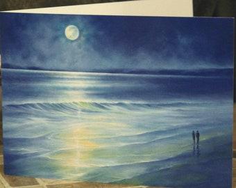 Seascape Greeting Card ~ Beautiful Moonlight