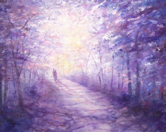 Down Lavender Lane limited edition hand embellished giclee print on paper