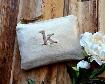Bridesmaid Gift Idea for Her Metallic Linen Personalized  Monogram Clutch Set Purse Custom Rustic Beach Shabby Wedding Pouch Makeup Bag