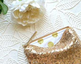 Sequin Clutch Personalized Bridesmaid Gift Idea for Her Monogram Gold Sequins Purse Women Pouch Makeup Christmas Bag Party Mother's Day