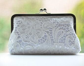 Bride Lace Clutch - White on White - Ivory Lace Clutch - Bridal Wedding Clutch - Bridesmaid Bag Purse Gift Idea -  Handmade Handbags